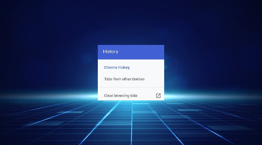 Chrome History displays clear browsing data