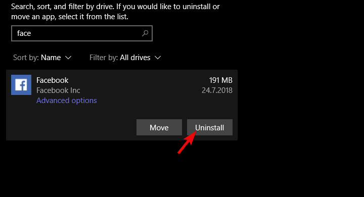 facebook windows 10 app does not work