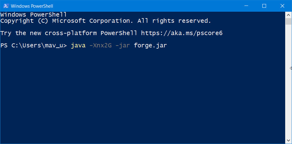PowerShell Minecraft Forge does not install Windows 10