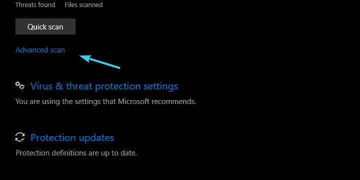 computer does not go to sleep windows defender advanced scanning