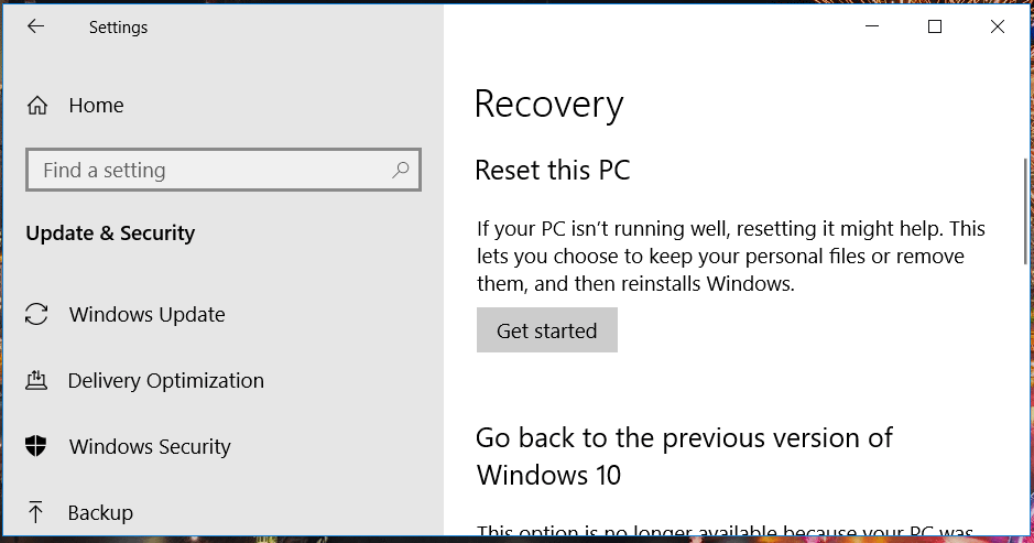 The minecraft smi Recovery tab does not install Windows 10