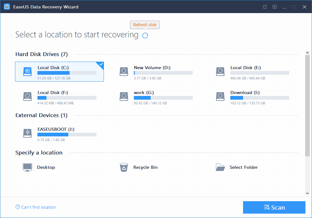 The EaseUS Data Recovery Wizard window Windows 10 deleted all my files
