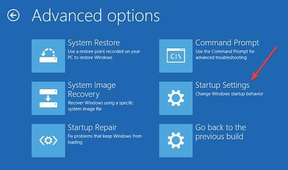 advanced options - boot settings.