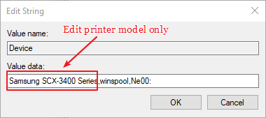My safe printer cannot be set by default