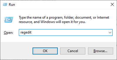 regedit command in executable window - Windows needs more disk space to print