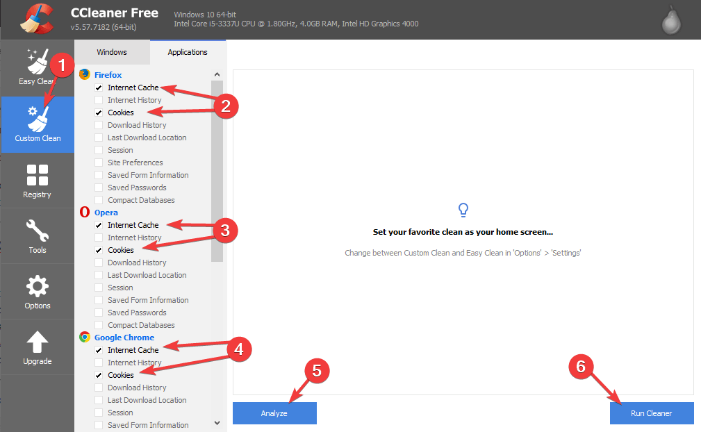 CCleaner - Something went wrong