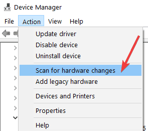 device management scan for hardware changes