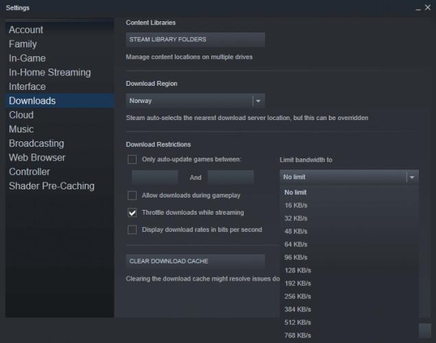 limit bandwidth steam slow download windows 10
