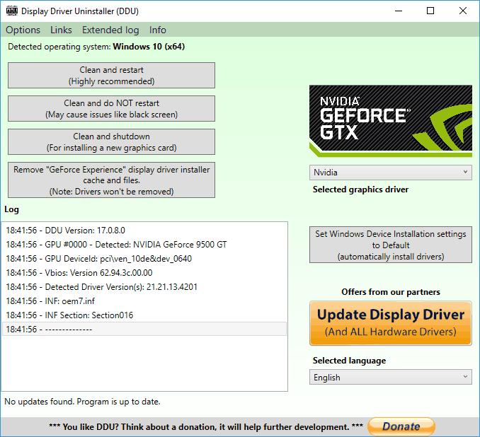 Nvidia screen driver deletes old versions