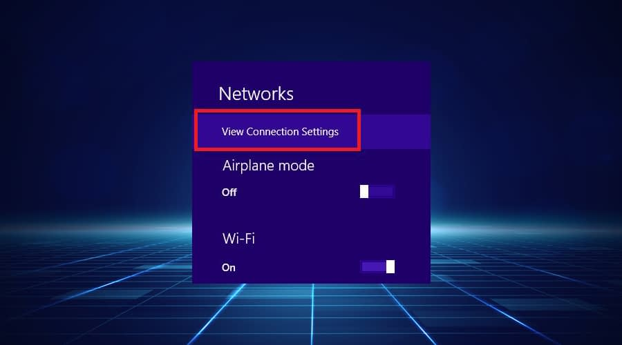 Windows View Connection Settings