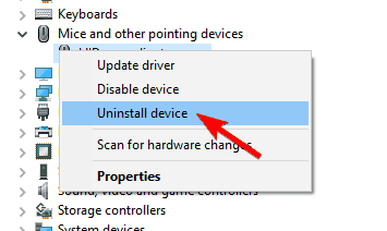 uninstall device driver management