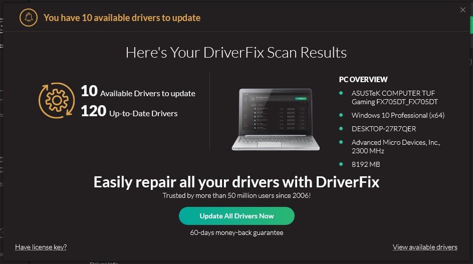 DriverFix Updater results