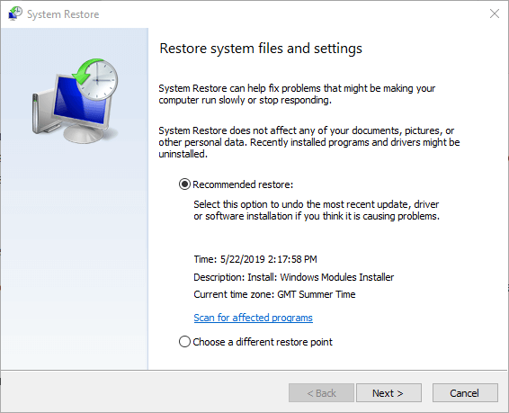 System Restore kernel apc awaits completion