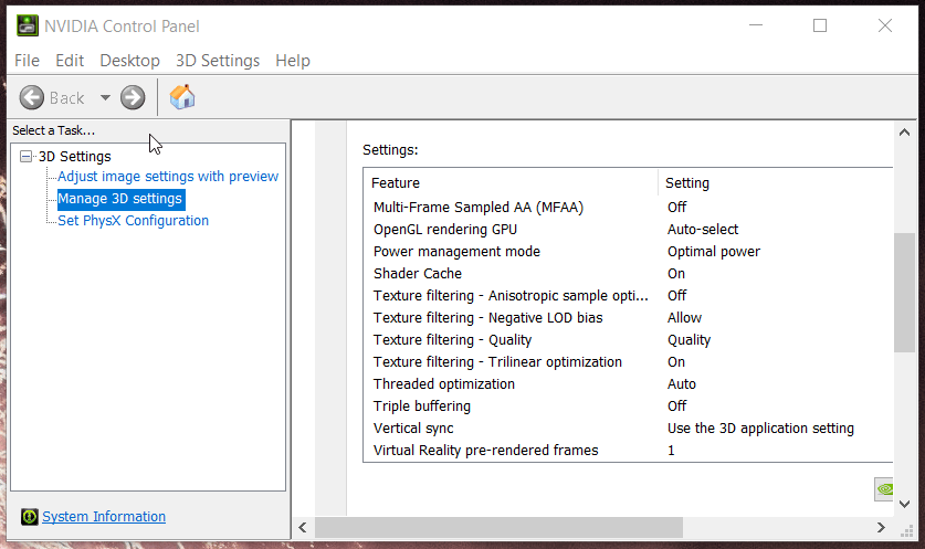 NVIDIA Control Panel crashes for driver frame display
