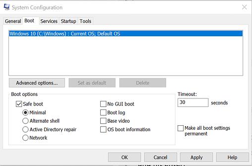 Safe Mode - Safe Boot Windows 10
