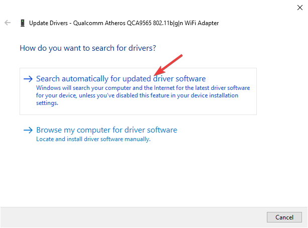 Automatically search for drivers - Wireless drivers are missing