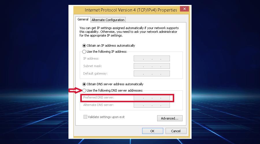 Windows displays DNS server addresses