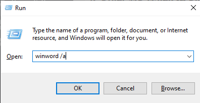 winword a command in executable window - Windows needs more disk space to print