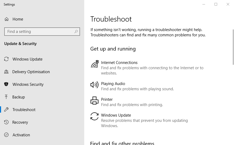 The Troubleshoot My Printer tab cannot be set by default