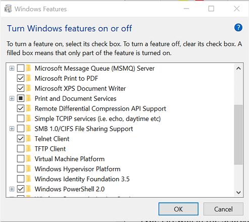 Enable Telnet Turn off Windows features