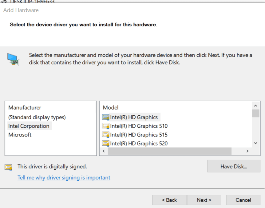 Problems with Intel Graphic Driver