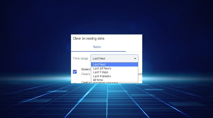 Chrome displays Browser Data Time Range