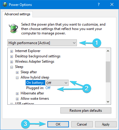 The computer is not going to sleep disabling hybrid sleep