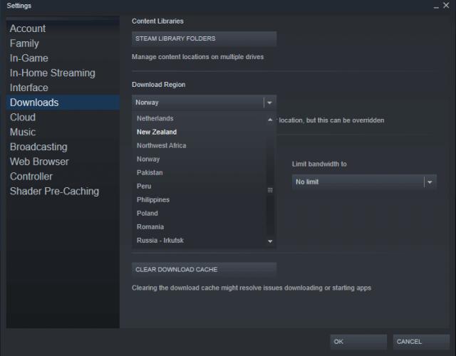 steam download region slow download speed windows 10