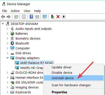 uninstall the display adapter driver